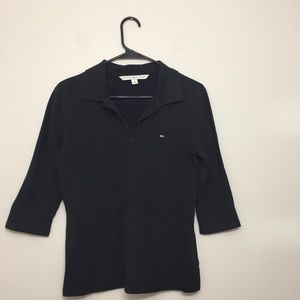 Tommy Hilfiger black 3/4 sleeve polo size M